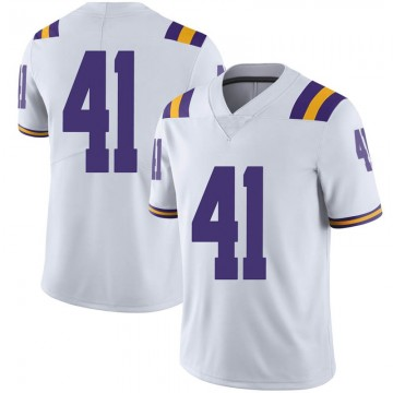Men's Carlton Smith LSU Tigers Nike Limited White Football College Jersey