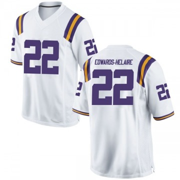 Men's Clyde Edwards-Helaire LSU Tigers Game White Football College Jersey