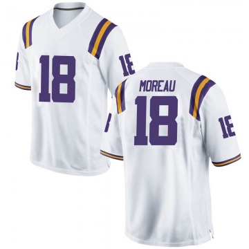 Men's Foster Moreau LSU Tigers Nike Game White Football College Jersey