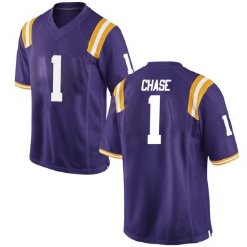 Men's Jamarr Chase LSU Tigers Replica Purple Football College Jersey