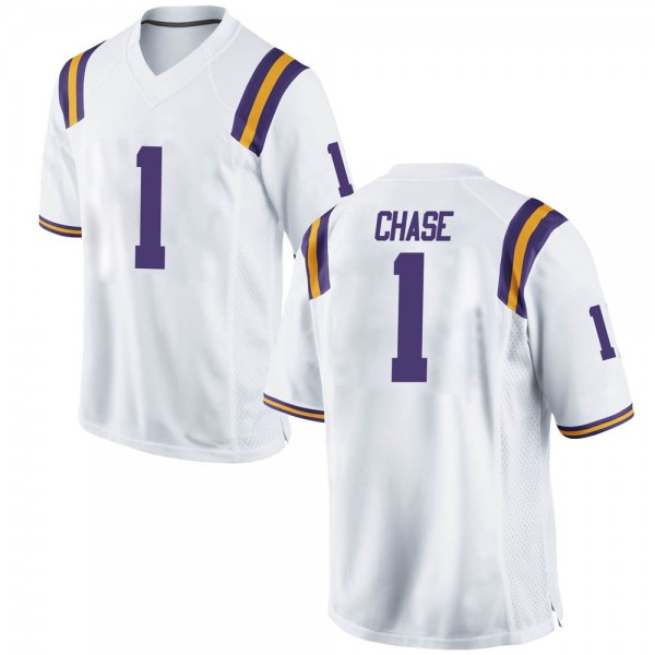 Men's Jamarr Chase LSU Tigers Nike Replica White Football College Jersey