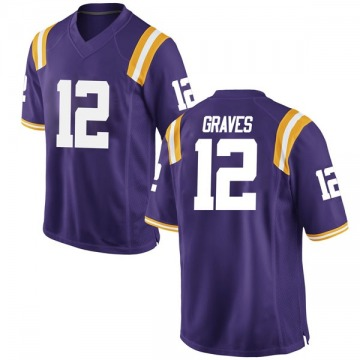 Men's Marshall Graves LSU Tigers Nike Game Purple Football College Jersey