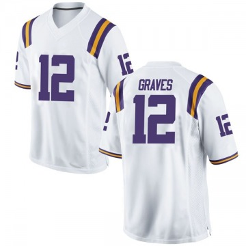 Men's Marshall Graves LSU Tigers Nike Game White Football College Jersey