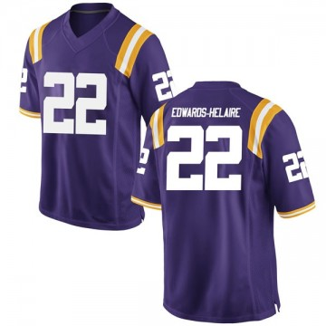 Youth Clyde Edwards-Helaire LSU Tigers Game Purple Football College Jersey